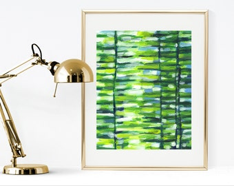 Green print, printable green abstract painting, instant download abstract print, green and blue wall art, abstract nature print, green decor