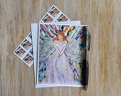 Angel Christian Card - Religious Card - Baptism Card -Angel Note Card with Envelope - Angel Card - Blank Card - Custom Note Card