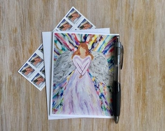 Christian Card - Religious Card - Baptism Card -Angel Note Card with Envelope - Angel Card - Blank Card - Custom Note Card - Gift Card