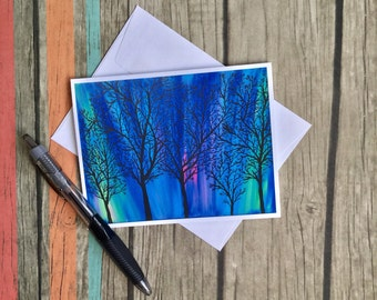 Northern Lights Note Card - Nature Card - Blank Note Card with Envelope - Photo Art Card - Original Art Card - Custom Note Card - Tree Card