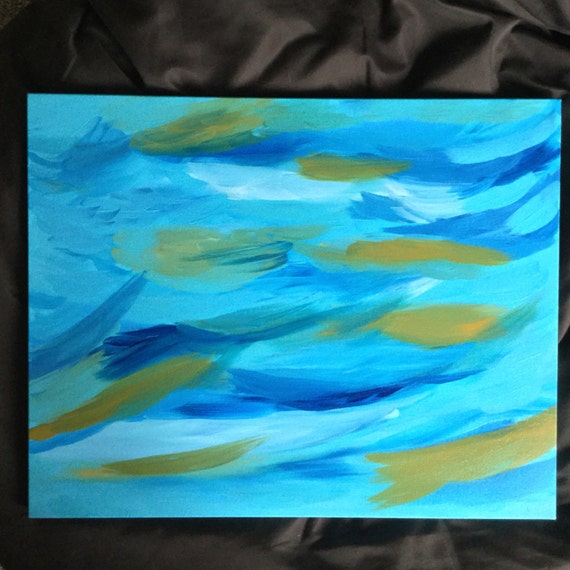 Free Shipping Abstract Art Large Blue Painting By