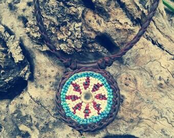 NECKLACE leather MANDALA, tribal, ethnic, boho