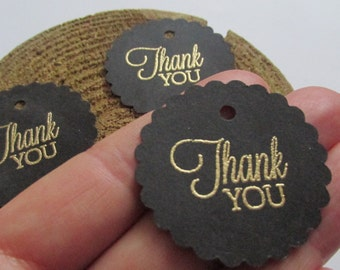 gold and black thank you tags, 30th birthday favor tags , bridal shower tags , scalloped  thank you tags, mini champagne bottle tags
