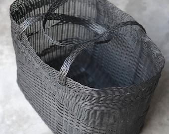 LARGE Black Woven Guatemalan Plastic Market Basket Strong Resistant Bag Bright Colors
