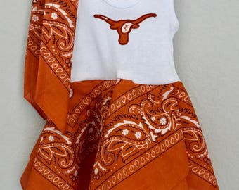 Texas Longhorns inspired baby dress, burnt orange bandana dress and headband,  UT Longhorns baby outfit