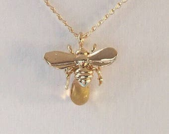 Bumble Bee Charm Necklace, Simple Bee Necklace, Gold Bee Necklace