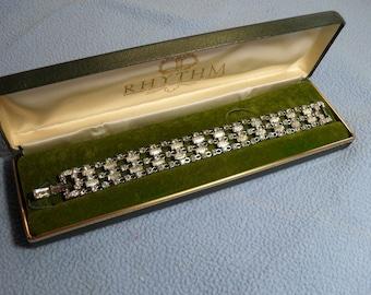 Coro Wide Rhinestone Bracelet~Sparkling stones