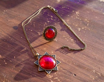 Vintage Necklace and ring, bronze, with fire red medallion