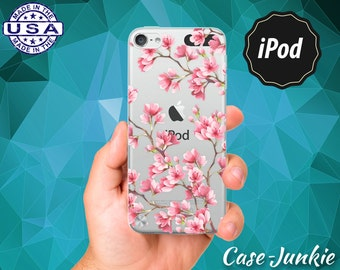 Pink Cherry Blossom Tree Japanese Flower Tumblr iPod 6 iPod 5 Rubber Transparent Clear Case For iPod Touch 5th Generation or iPod Touch 6th