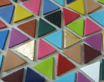 Leather Triangles, 20 mm. 30mm., Mixed Colors, Leather Triangle Die Cut, Triangle Shape, Triangle Style, Triangle Cut Outs.
