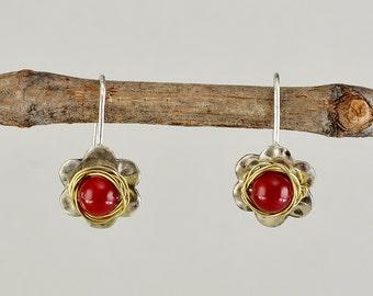 Flower silver earrings, red coral short drops, hammered jewelry, daisy earrings, dangle rose earrings, women gift, small earrings.