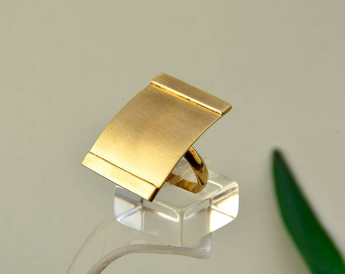 Featured listing image: Gold rectangular ring, ring on sale,  long ring, middle finger ring, minimal band, geometric ring, statement ring, adjustable band
