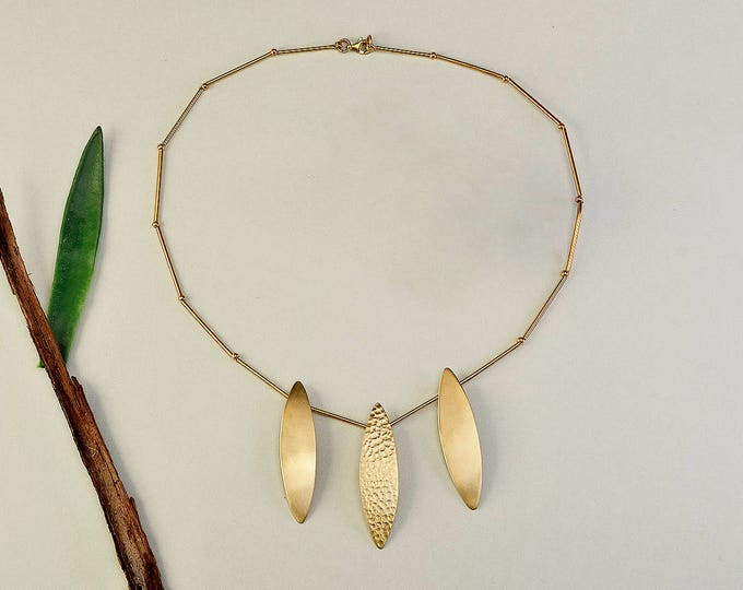 Featured listing image: Leaf gold necklace, statement necklace, scalloped necklace, free shipping jewelry, brass matte jewelry, hammered jewel, metallic collar
