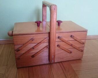 Vintage Sewing Box,Wooden Sewing Box,Vintage Sewing Case,Accordion Sewing Box,Wooden Sewing Storage,Sewing Organizer,Wood sewing box