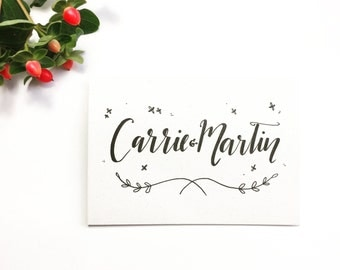 Personalised wedding card, hand drawn, typography