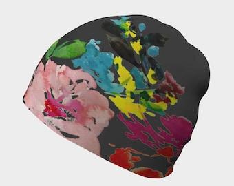 Slouchy hat - Beanies, Chemo hat, floral boho hat, womens beanies, child beanie, newborn hat, chapeau por chimio, skull caps, watercolor