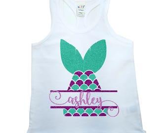 Custom, Personalized, Mermaid Shirt, Mermaid Tank Top, Mermaid Birthday shirt, Glitter Mermaid, Little Mermaid, Baby Girl's Shirt, Toddler