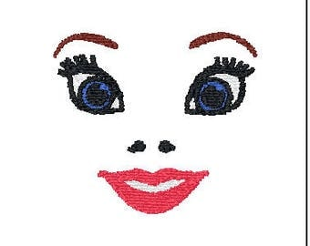 Princess Doll Face Embroidery Design