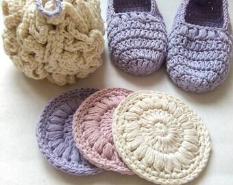 Spa bath set, crochet spa gift set, organic cotton spa set, organic cotton gift