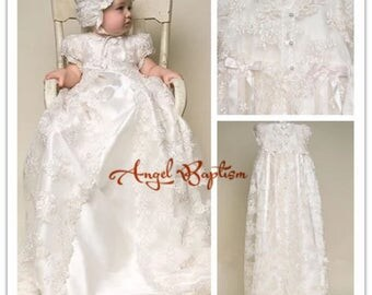 Gorgeous Satin, Silk, and Lace Christening Gowns With Bonnet