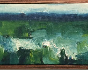 Original 4x12 Abstract Marsh Painting with Wood Frame