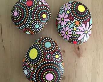 Rock Art, House Warming Gift, Hand Painted Rocks, Painted Stone, Mandala Design, Natural Home Decor, fields of color Trio Collection #71