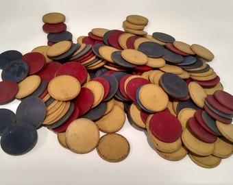 Stack of Vintage Wood Poker Chips - 181 Chips