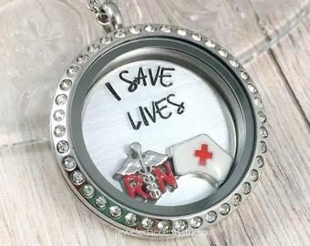 RN Necklace, Floating Locket, I Save Lives, Nurse Locket, New Nurse Gift, RN Jewelry, Nurse Graduation Gift, Hand Stamped, ER Nurse Necklace
