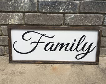White Family Wood Sign with Rustic Wood Frame
