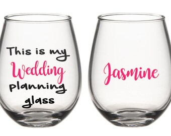 Wedding planning glass, gift for bride, engagement gifts, gift for best friend, bride glass, planning glass, engagement gift for bride
