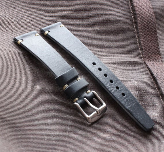 Black Vintage Style leather watch band - Simple side stitch