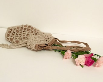 Hessian and crochet drawstring bag, hand made bag, hessian pouch, hessian bag, crochet bag