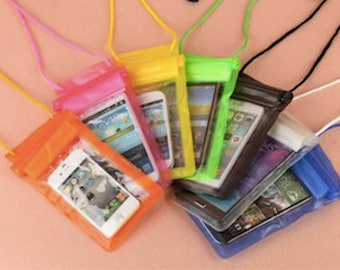Cell phone case, clear, waterproof, adjustable strap
