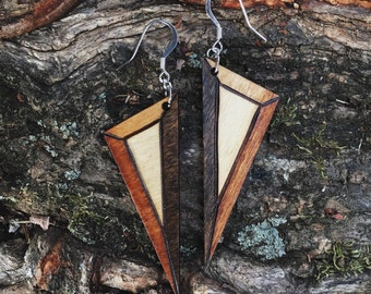 Coffee Prism Dagger Earrings
