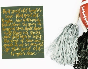 That Good Old Baylor Line 8x10 Gold Foil Hand Lettered Print | Baylor University | Sic 'Em Bears | Baylor Graduation