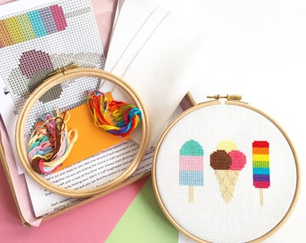 Modern Cross Stitch Kit For Beginners - Ice Cream