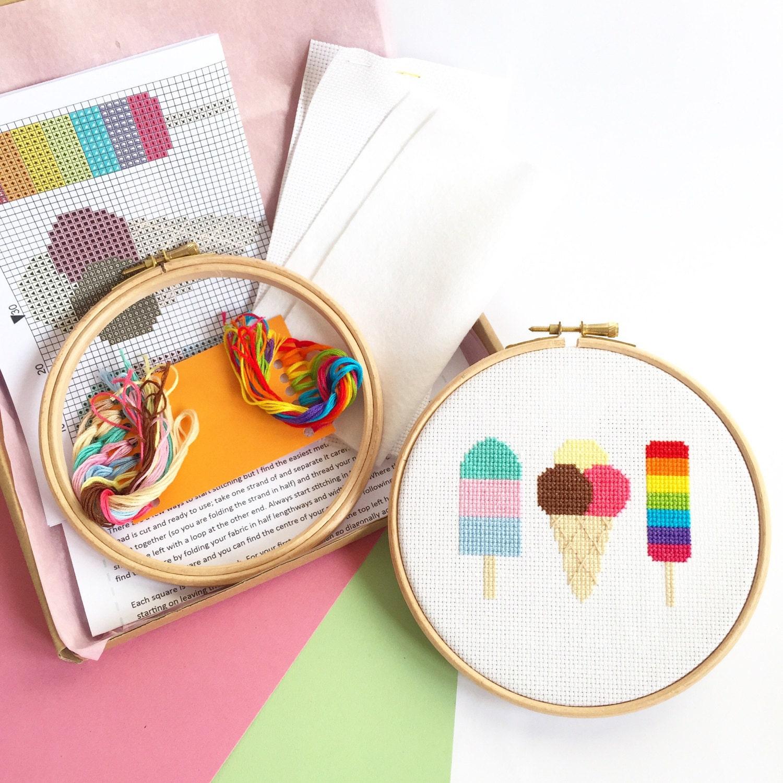 Modern cross stitch kit for beginners ice cream craft