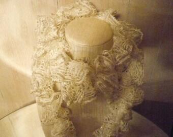 Winter white crochet ruffle scarf