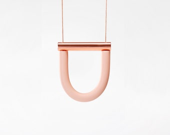 Blush U / Copper bar necklace