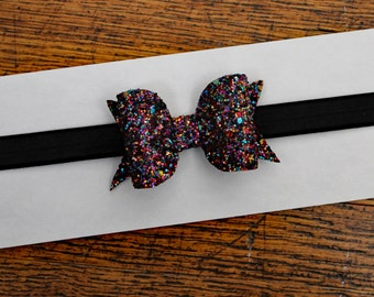 Glitter bow headband - baby glitter bows - glitter hair bows - bow headbands - glitter headbands - black headband - sparkle headband