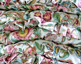 Floral Eiderdown Quilt, double sized, hand tied and stitch details, synthetic filled no dust, vintage bedroom comforter, cosy period bedroom