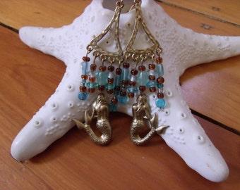 handmade mermaid earrings, chandelier, gold tone, blue and brown glass beads