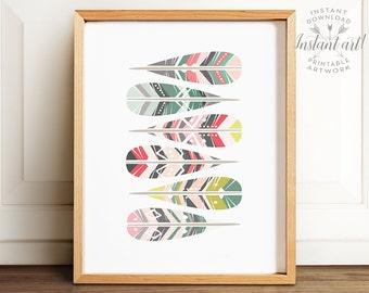 Geometric art, PRINTABLE art, Feather art, Feathers print, Pastel print, Tribal decor, Nursery printable art, Nursery art, Pink and teal