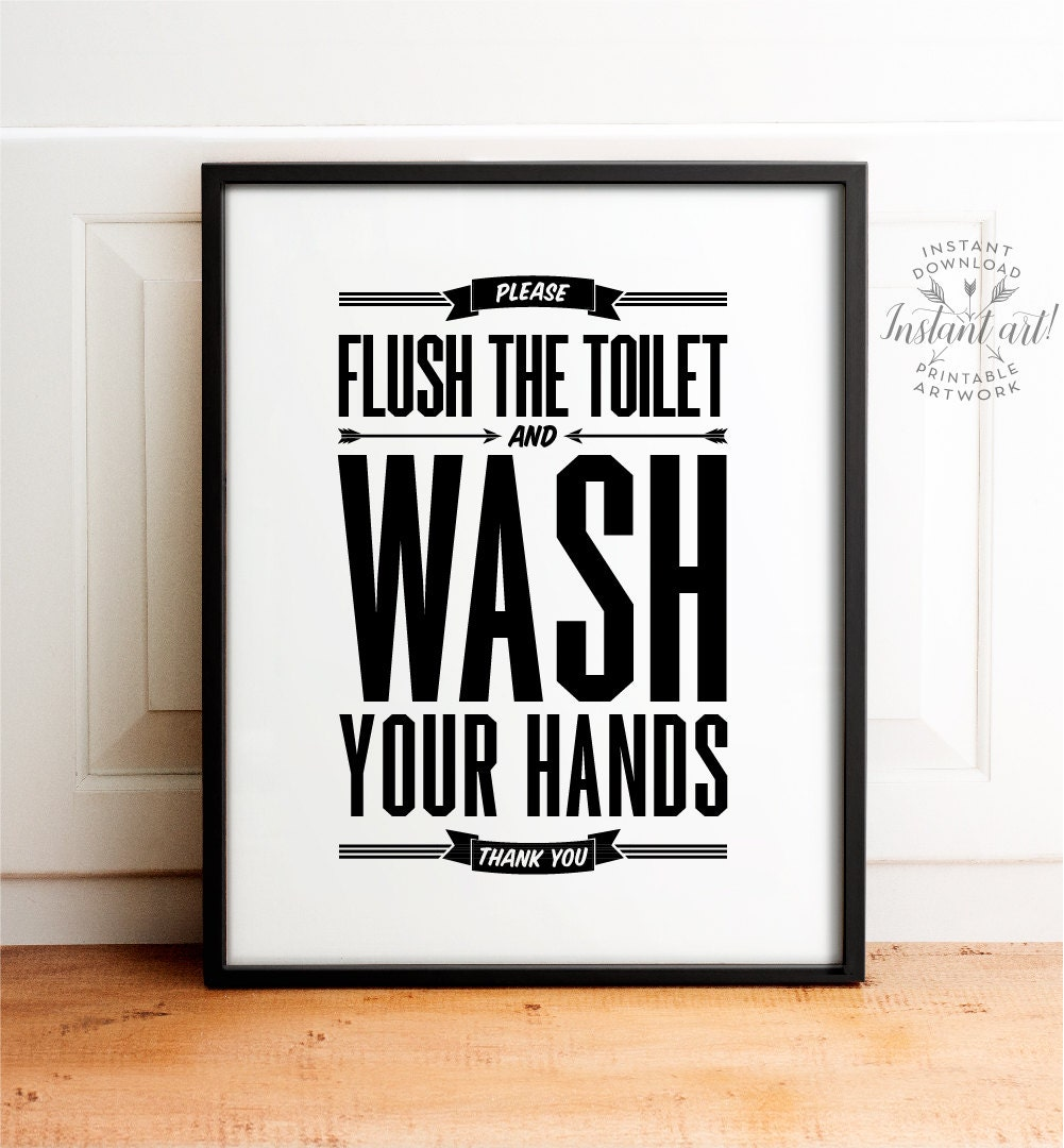 Flush sign Bathroom decor PRINTABLE art Flush toilet sign