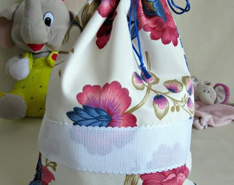Asylum bag in cotton Satin with floral design