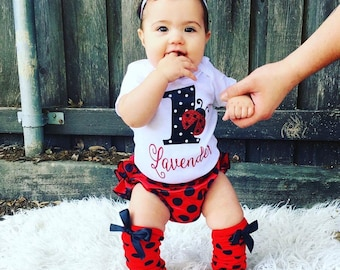 Ladybug birthday, ladybug onesie, ladybug bloomer, baby bloomers, birthday outfit, first birthday, baby girl bodysuit, first birthday, baby
