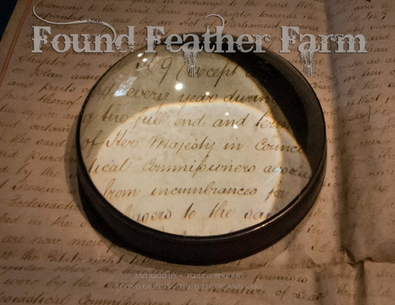Vintage Large Antique Brass Round Dome Reading Magnifier