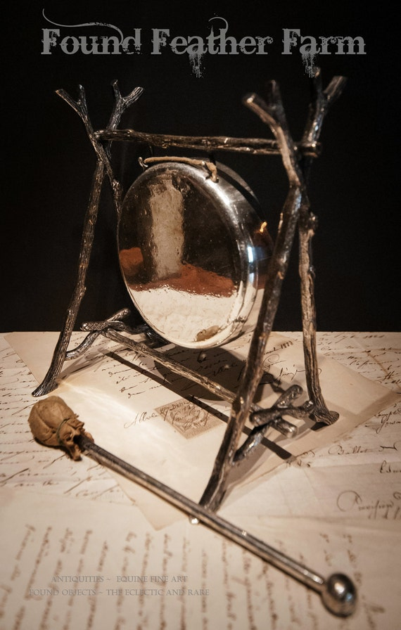 Exceptional British Silver Plate Dinner Gong from Circa Late 1800's