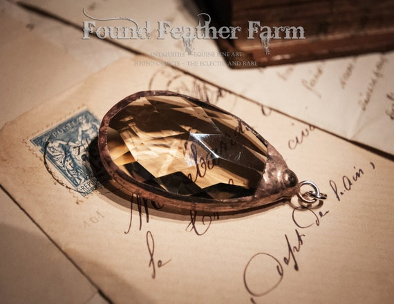 Large Handmade Copper Soldered Dark Honey Toned Vintage Crystal
