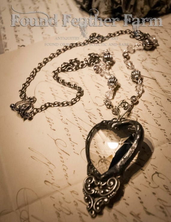 Handmade Vintage Crystal Heart Pendant with Silver Victorian Scroll Detail and Handmade Bead Necklace Chain